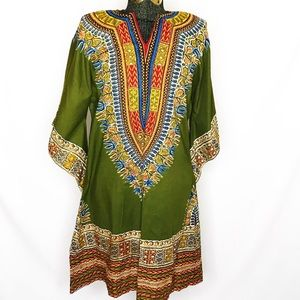 Authentic Green African Dashiki Hippie Boho J134